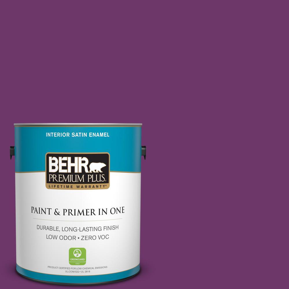 BEHR Premium Plus 1-gal. #S-G-680 Raspberry Mousse Zero VOC Satin Enamel Interior Paint