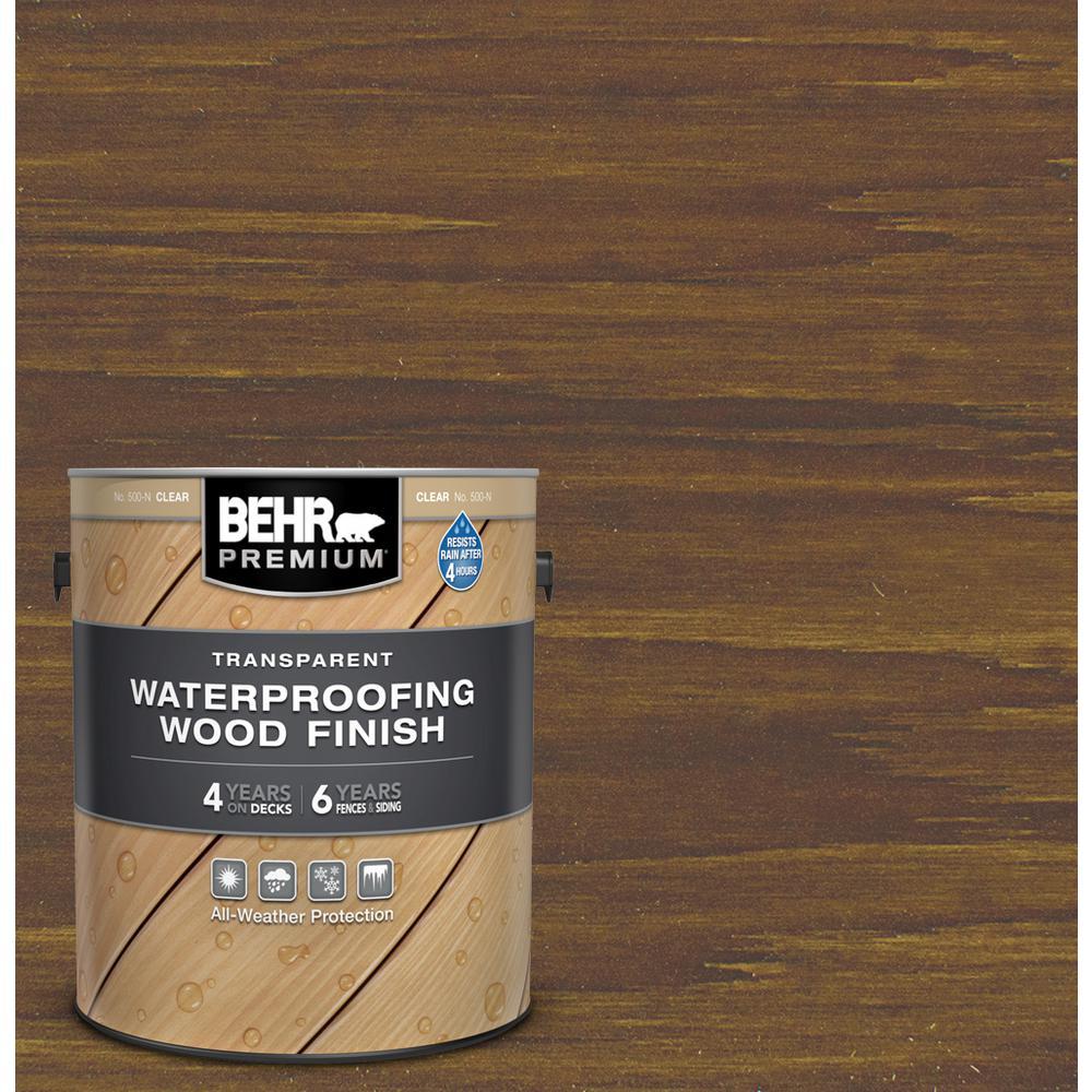 BEHR Premium 1 gal. #T-104 Cordovan Brown Transparent Waterproofing Exterior Wood Finish
