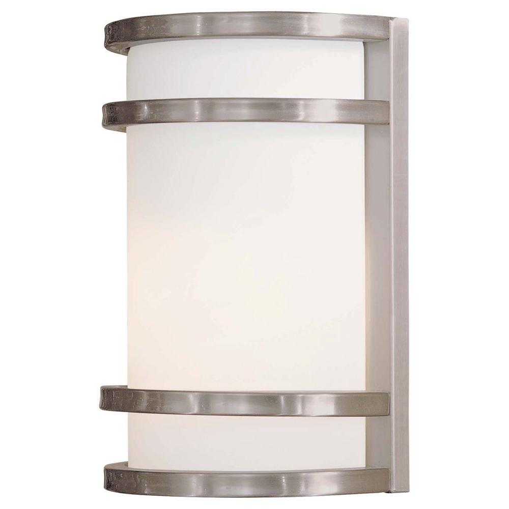 The great outdoors by minka lavery bay view 1 light brushed the great outdoors by minka lavery bay view 1 light brushed stainless steel outdoor wall aloadofball Choice Image