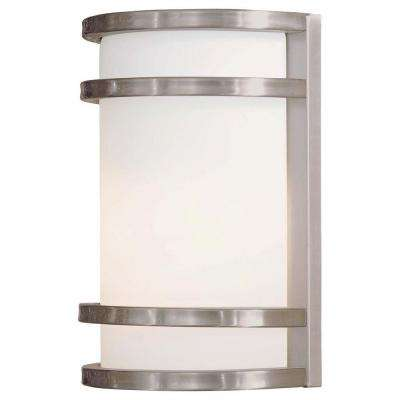 Bay View 1-Light Brushed Stainless Steel Outdoor Wall Lantern Sconce