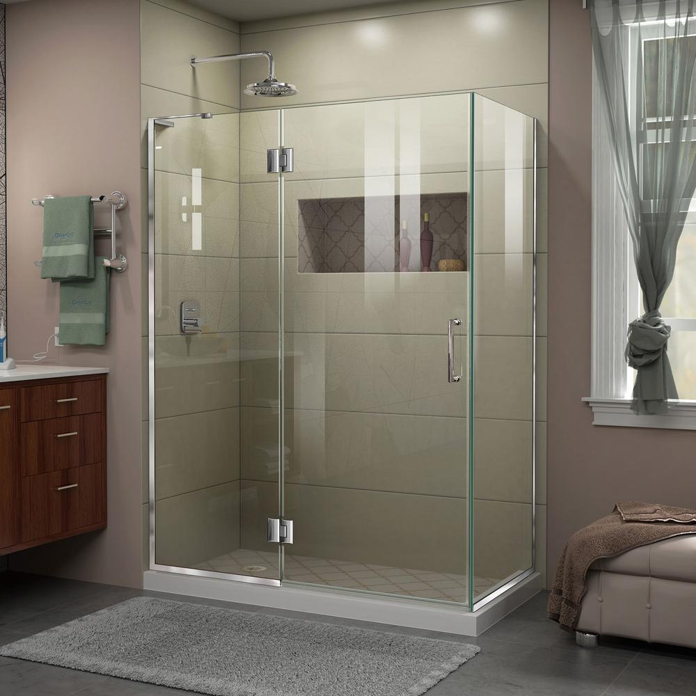 Dreamline Unidoor X 48 3 8 In W X 34 In D X 72 In H Frameless Hinged Shower Enclosure In Chrome E32434l 01 The Home Depot
