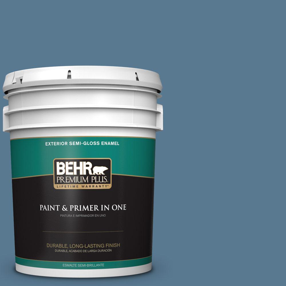 5 gal. #PPU14-03 Cayman Bay Semi-Gloss Enamel Exterior Paint