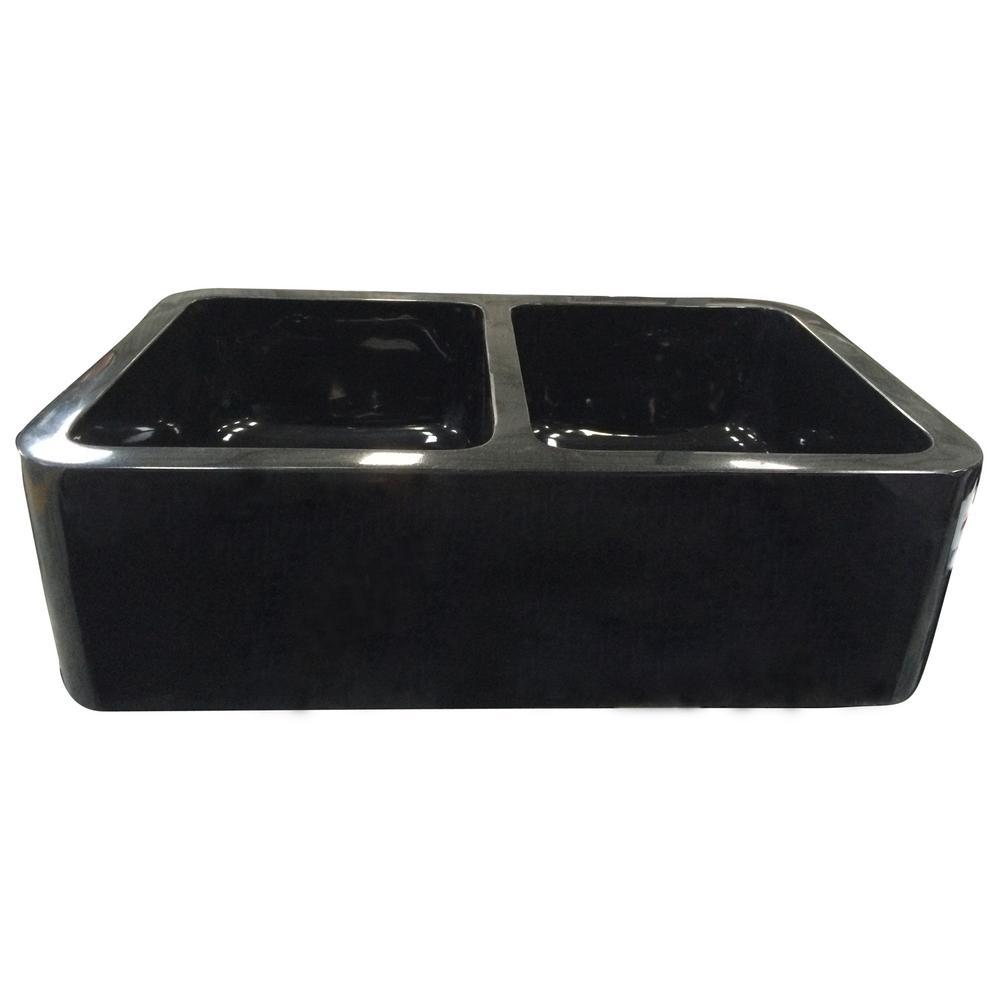 Atlanta Farmhouse Apron Front Granite Composite 33 in. 50/50 Double Bowl Kitchen Sink in Polished Black