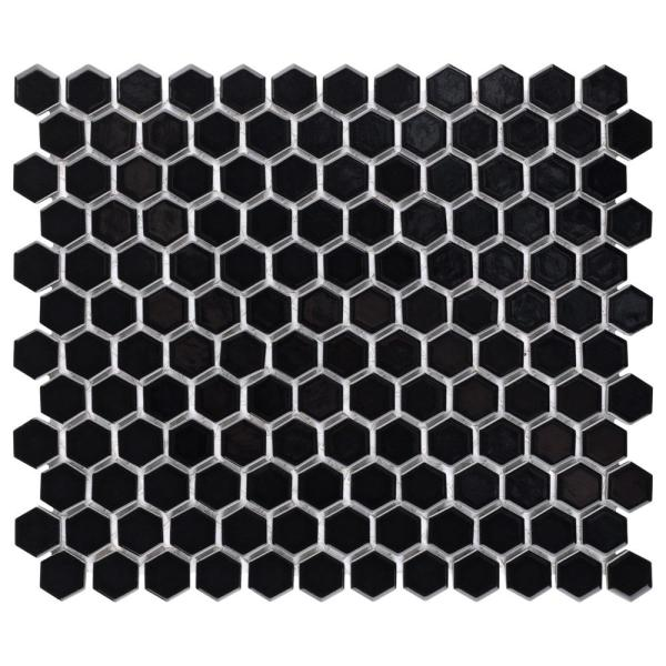 Metro Hex 1 in. Glossy 10-1/4 in.x11-7/8 in. Black Porcelain Mosaic (8.65 sq. ft. /Case)