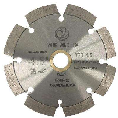 4.5 in. 8-Teeth Segmented Laser Welded Diamond Blade for Dry or Wet Cutting Concrete, Stone, Brick and Masonry
