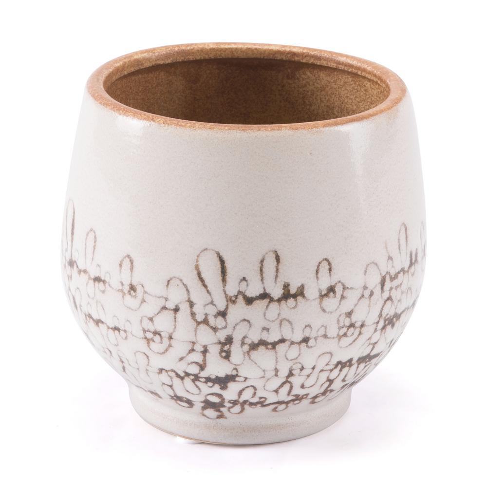 Ibera 6.3 in. W x 6.1 in. H White Ceramic Planter
