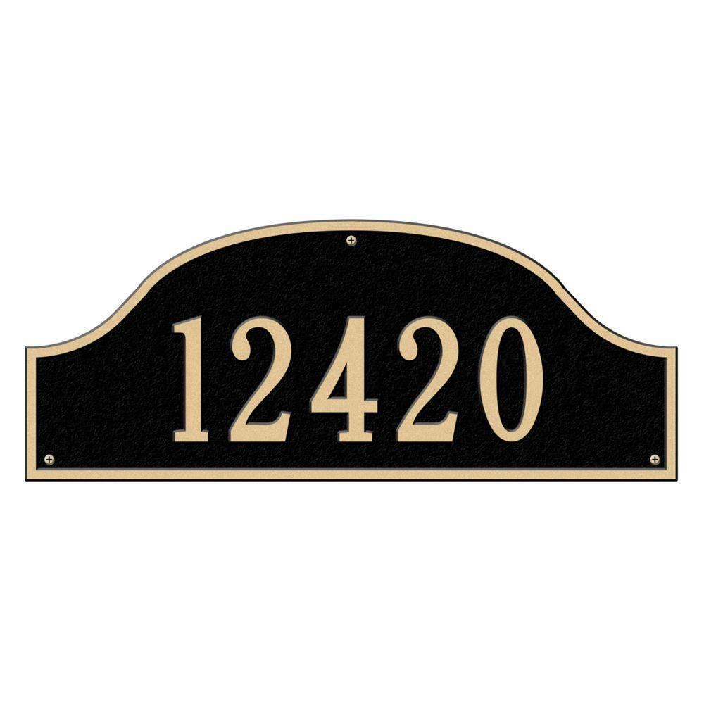 Admiral Estate Arch Black/Gold Wall One Line Address Plaque