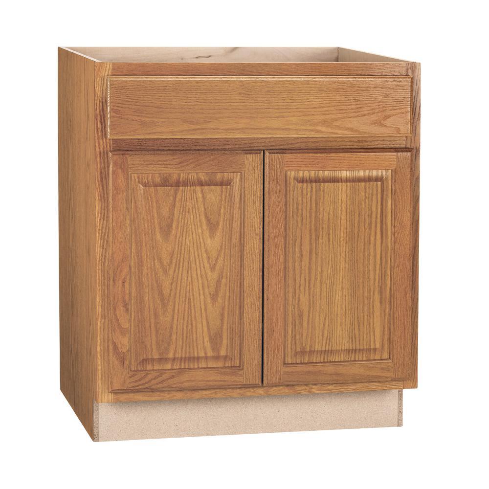 Hampton Bay Hampton Assembled 30x34 5x24 In Sink Base Kitchen Cabinet In Medium Oak Ksb30 Mo The Home Depot