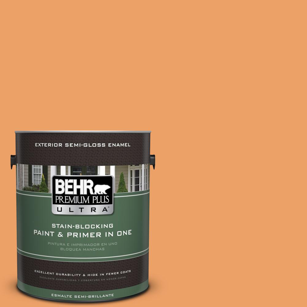 BEHR Premium Plus Ultra 1-gal. #270D-5 Adventure Orange Semi-Gloss Enamel Exterior Paint