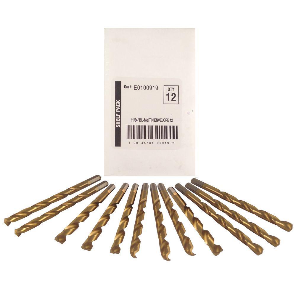 11/64 in. Diameter Titanium Jobber Drill Bit (12-Pack)
