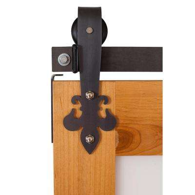 Fluer De Lis 7 ft. Track in Raw Steel Barn Door Hardware