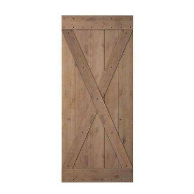 36 in. x 84 in. X Overlay Primed Natural Wood Finish Sliding Barn Door Knotty Alder Interior Barn Door Slab