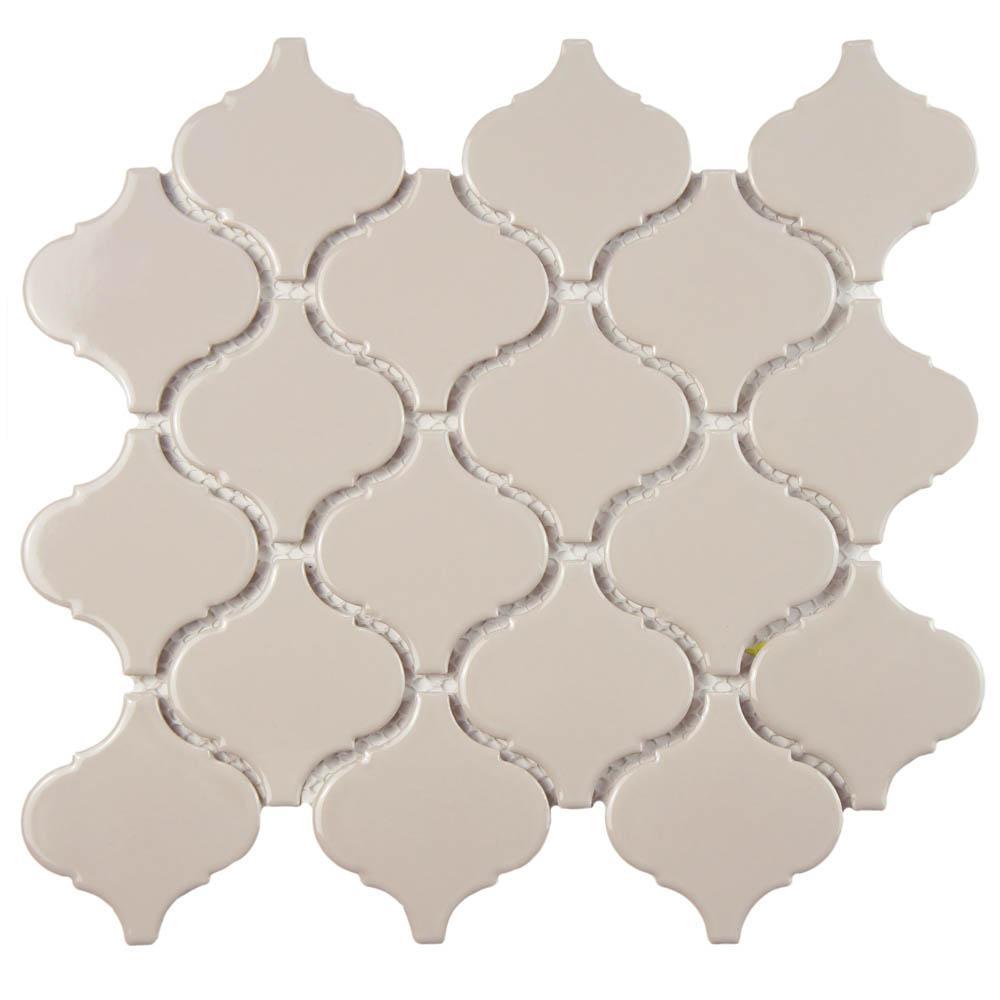 Merola Tile Metro Lantern Glossy Taupe Grey 9 3 4 In X 10