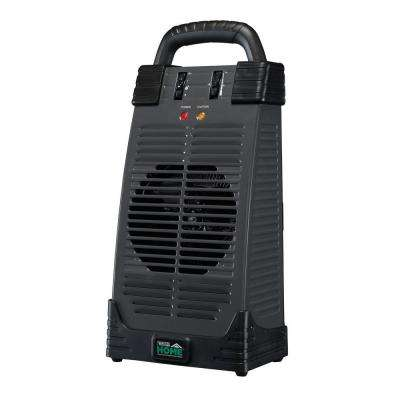 4,600 BTU Ceramic Electric Portable Utility Tower Heater with Handle - Black