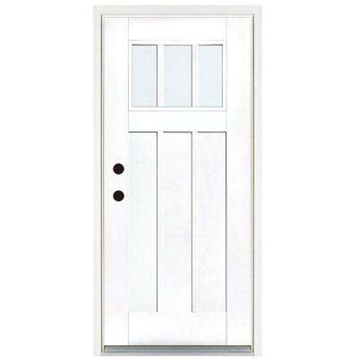 36 in. x 80 in. Smooth White Right-Hand Inswing 3-Lite LowE Classic Craftsman Finished Fiberglass Prehung Front Door