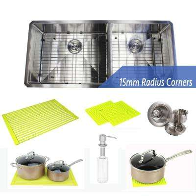 Undermount Stainless Steel 42 in. 60/40 Offset Double Bowl Kitchen Sink Combo