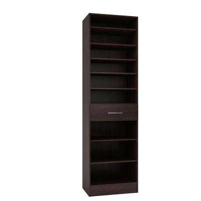 15 in. D x 24 in. W x 84 in. H Calabria Espresso Melamine with 9-Shelves and Drawer Closet System Kit