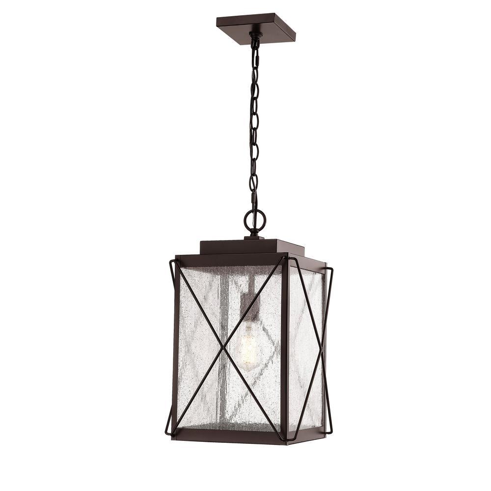 1-Light 13 in. Powder Coat Bronze Outdoor Lantern Pendant