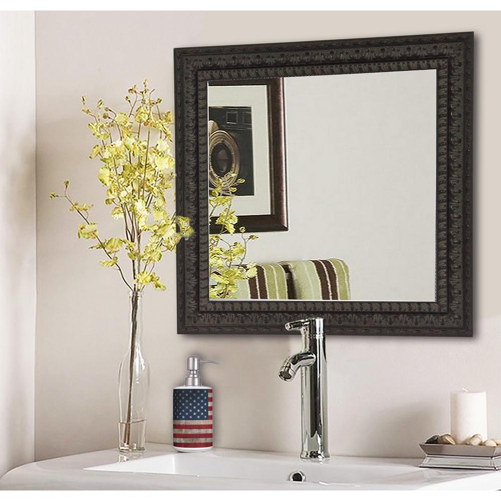 17.5 in. x 17.5 in. Dark Embellished Square Vanity Wall Mirror