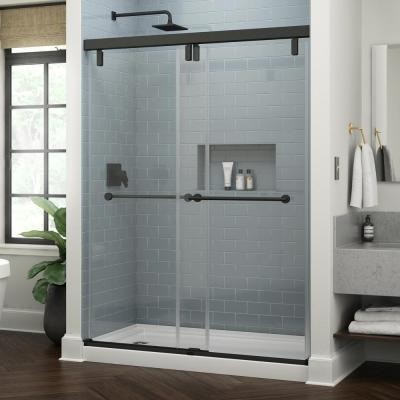 Lyndall 60 in. x 71-1/2 in. Frameless Mod Soft-Close Sliding Shower Door in Matte Black with 3/8 in. (10 mm) Clear Glass