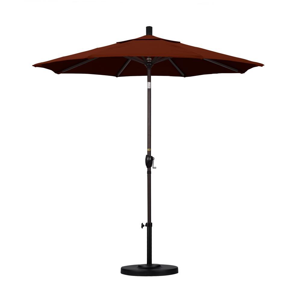 California Umbrella 7-1/2 ft. Fiberglass Push Tilt Patio Umbrella in Brick Pacifica