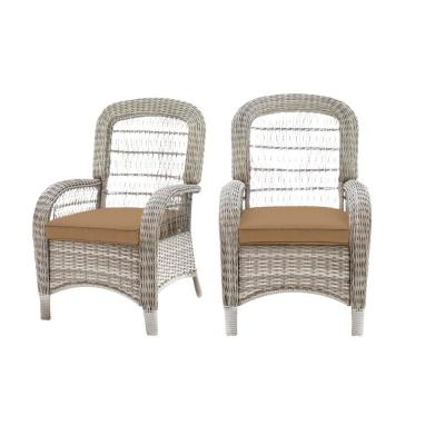 Beacon Park Gray Wicker Outdoor Patio Captain Dining Chair with CushionGuard Toffee Tan Cushions (2-Pack)
