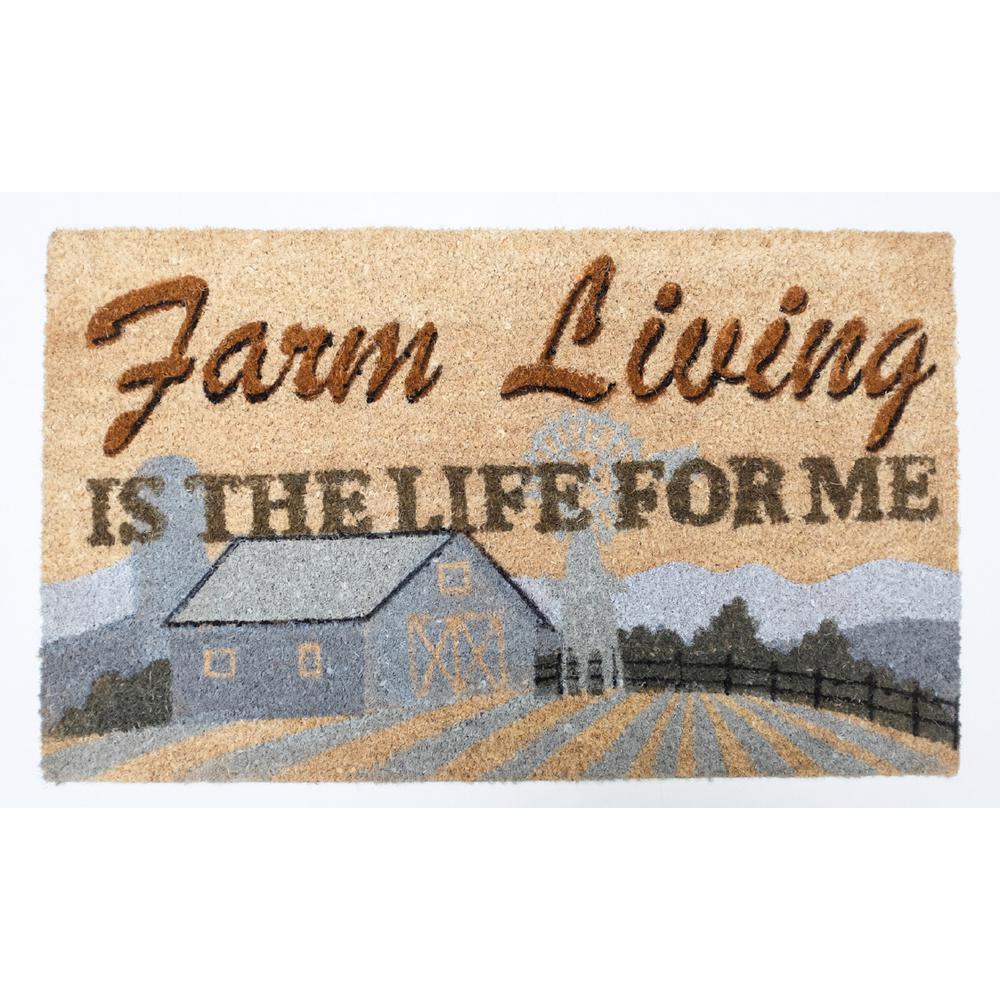18 in. x 30 in. Farm Living Vinyl Back Coco Door Mat