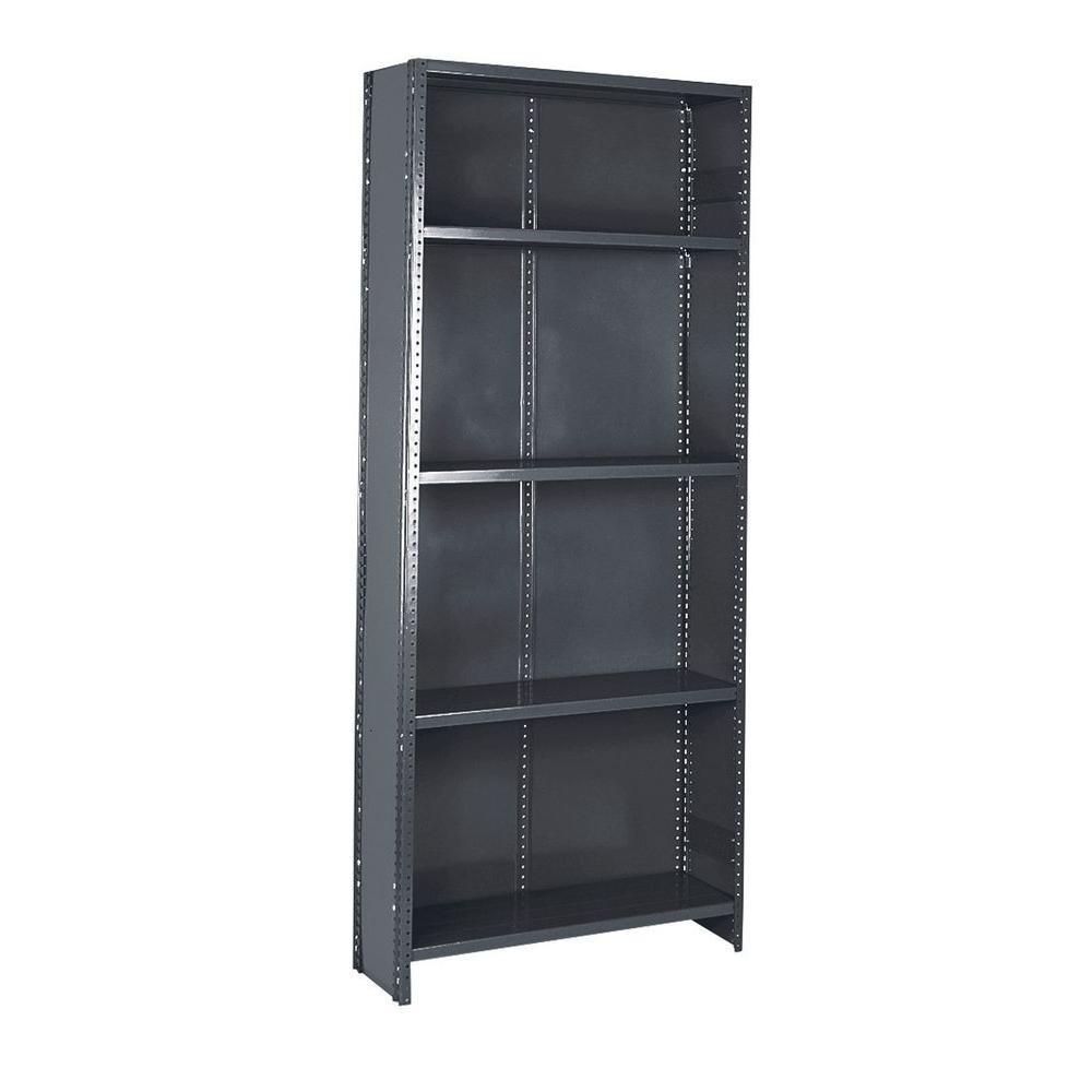 36 in. W x 75 in. H x 12 in. D Commercial Grade Closed 5 Shelf Steel Shelving Unit