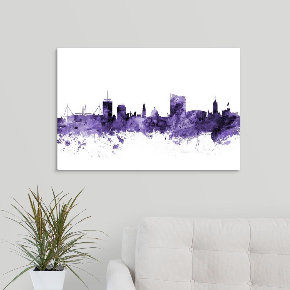 GreatBigCanvas ''Cardiff Wales Skyline'' by Michael Tompsett Canvas Wall Art
