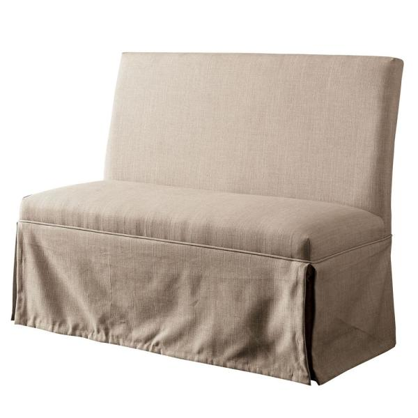 Furniture of America Norwich Beige Upholstered Dining Love Seat
