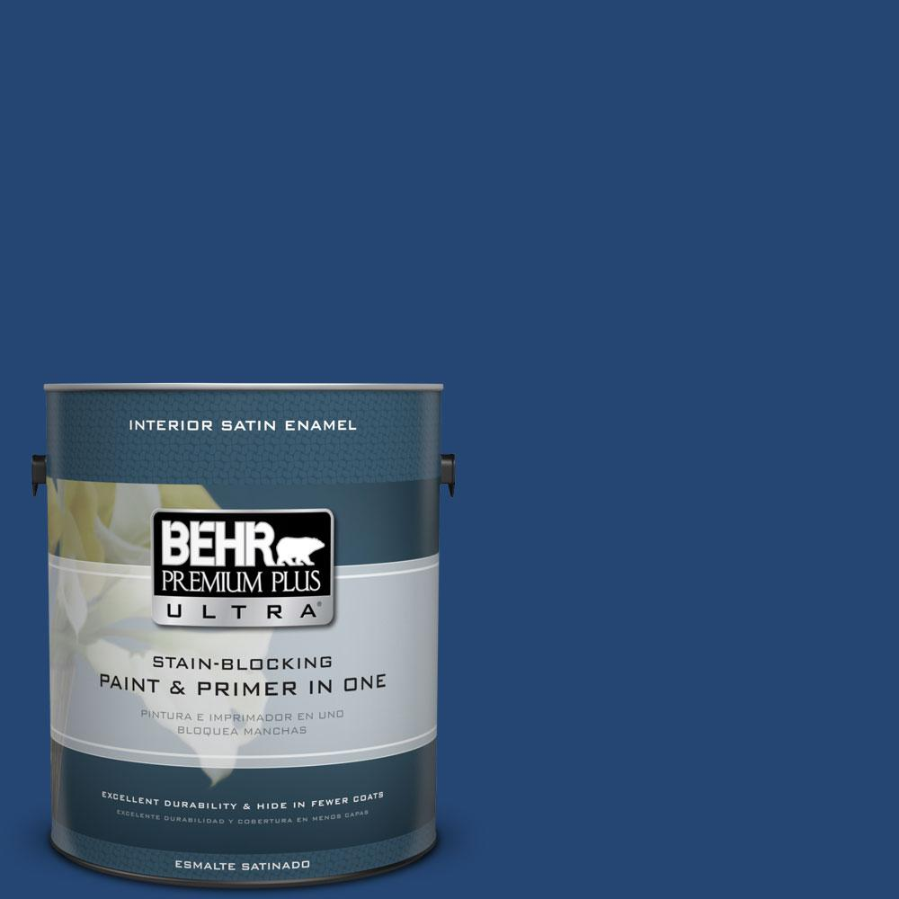 1 gal. #S-H-580 Navy Blue Satin Enamel Interior Paint and Primer
