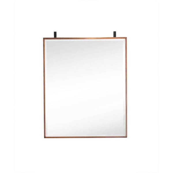 Lakeside 25 in. W x 30 in. H Single Framed Wall Mirror in Mid-Century Walnut and Matte Black