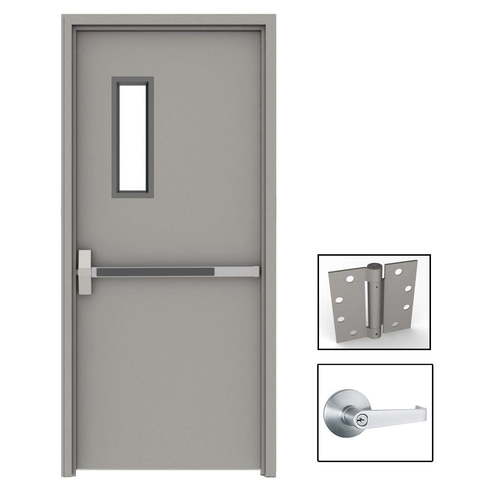 36 In X 80 In Gray Flush Exit With 5x20 Vl Right Hand Fireproof Steel Prehung Commercial Door