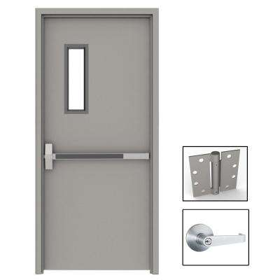 36 in. x 80 in. Gray Flush Exit with 5x20 VL Right-Hand Fireproof Steel Prehung Commercial Door with Welded Frame