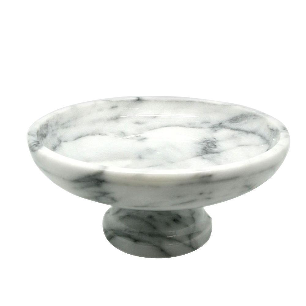 10 in. x 10 in. x 4.375 in. Fruit Bowl on Pedestal in White Marble