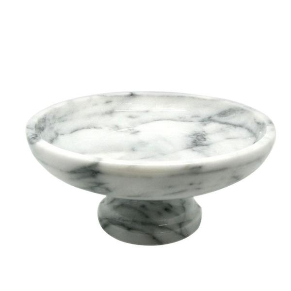 Creative Home - 10 in. x 10 in. x 4.375 in. Fruit Bowl on Pedestal in White Marble