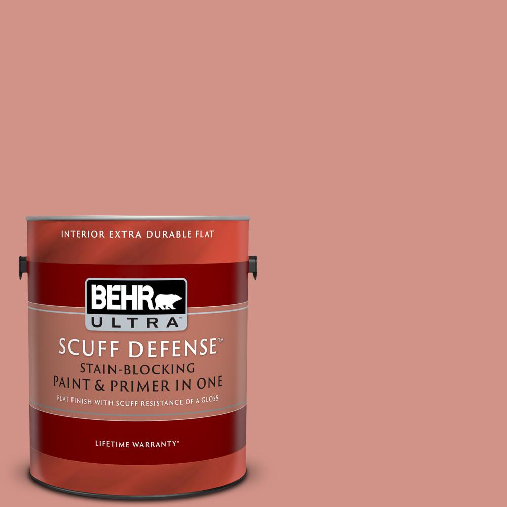 Behr Ultra 1 Gal T15 20 Peach Preserve Extra Durable Flat Interior Paint And Primer In One 172401 The Home Depot