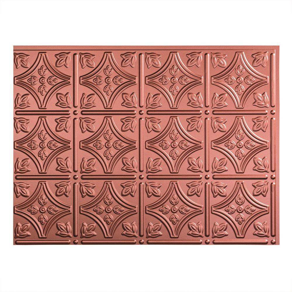 Fasade 24 in. x 18 in. Traditional 1 PVC Decorative Backsplash Panel in Argent Copper