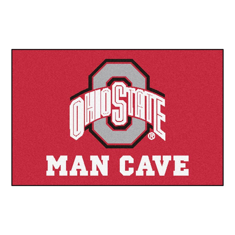 Ohio State University Red Man Cave 1 ft. 7 in. x 2 ft. 6 in. Accent Rug