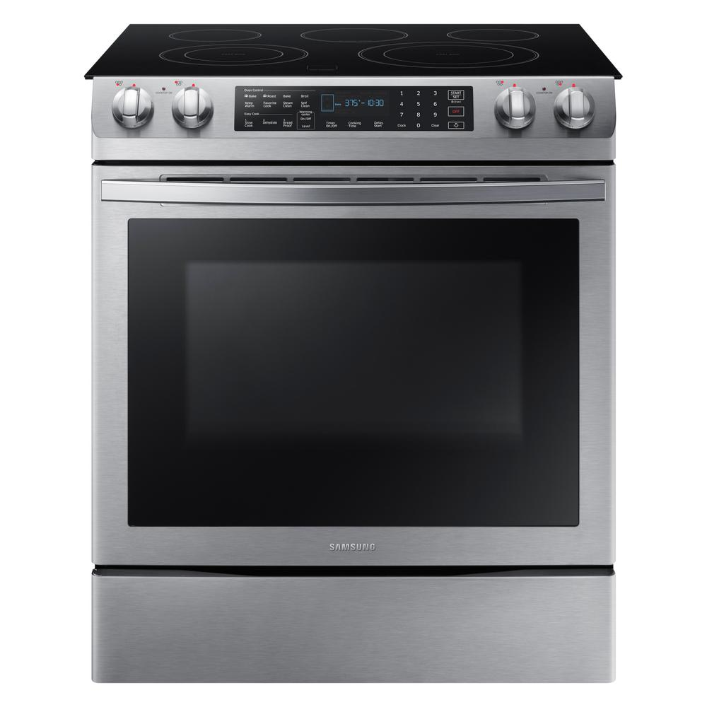 Samsung 5.8 cu. ft. Slide-In Electric Range with Self-Cleaning Dual Convection Oven in Stainless Steel, Fingerprint Resistant Stainless Steel was $1599.0 now $947.7 (41.0% off)