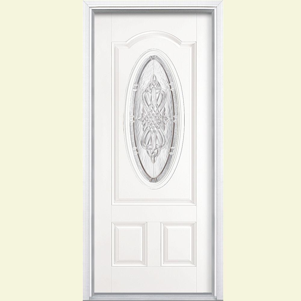 Masonite 36 in. x 80 in. New Haven 3/4 Oval Left Hand Primed White Smooth Fiberglass Prehung Front Door w/ Brickmold, Vinyl Frame
