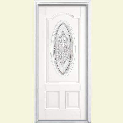 36 in. x 80 in. New Haven 3/4 Oval Left Hand Primed White Smooth Fiberglass Prehung Front Door w/ Brickmold, Vinyl Frame