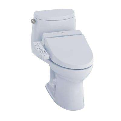 UltraMax II Connect+ 1-Piece 1.0 GPF Elongated Toilet with Washlet C100 Bidet Seat and CeFiOntect in Cotton White