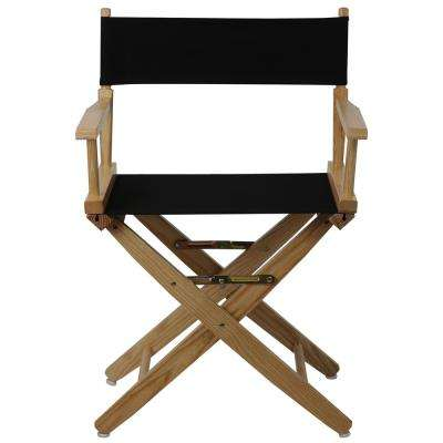 Extra-Wide 18 in. Natural Frame/Black Canvas American Hardwood Directors Chair