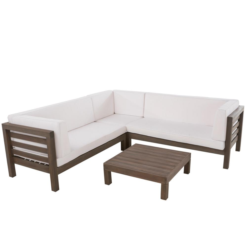 Awe Inspiring Noble House Oana Grey 4 Piece Wood Outdoor Sectional Set With White Cushions Gmtry Best Dining Table And Chair Ideas Images Gmtryco