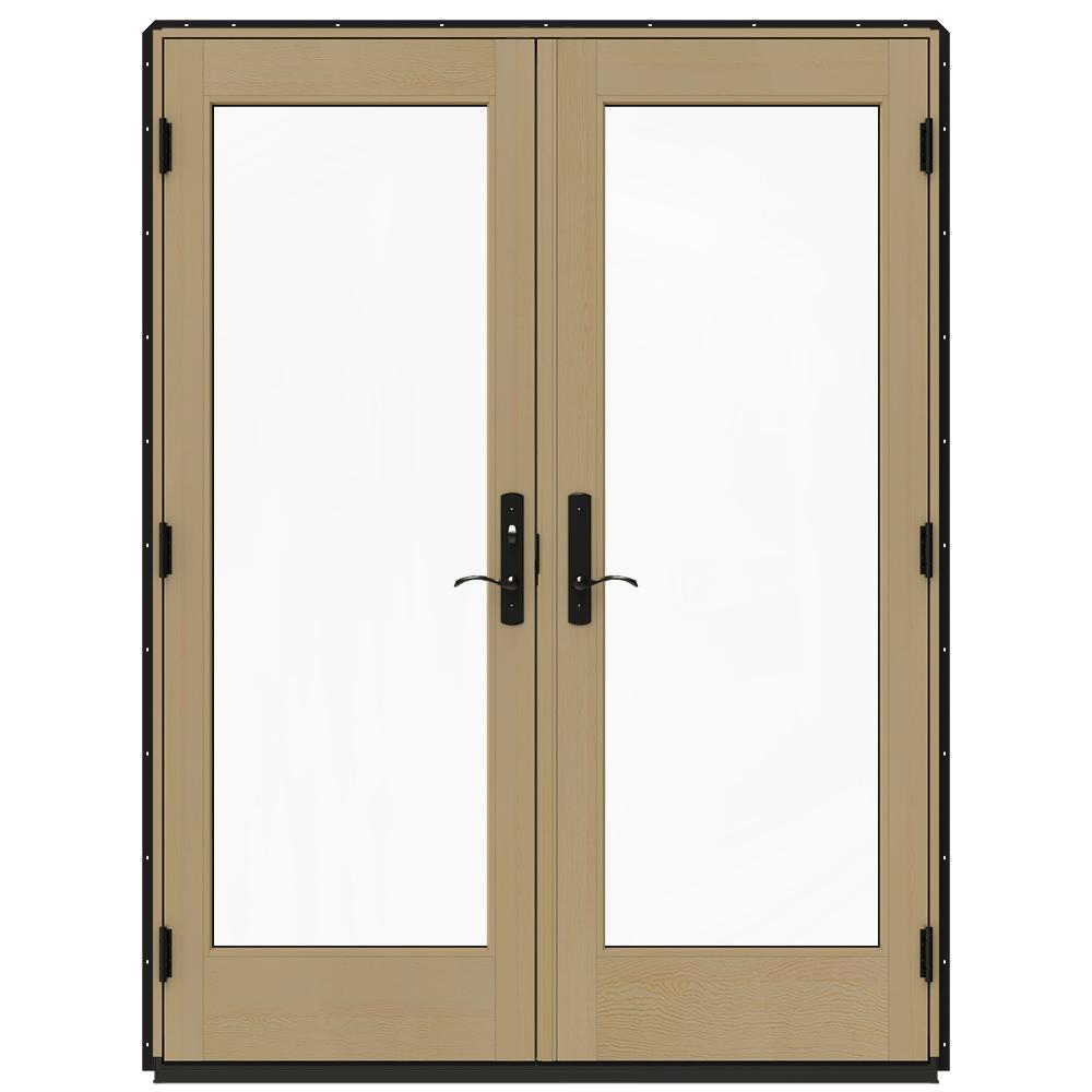 Jeld wen 60 in x 80 in w 4500 black clad wood right hand for Screen for french doors inswing