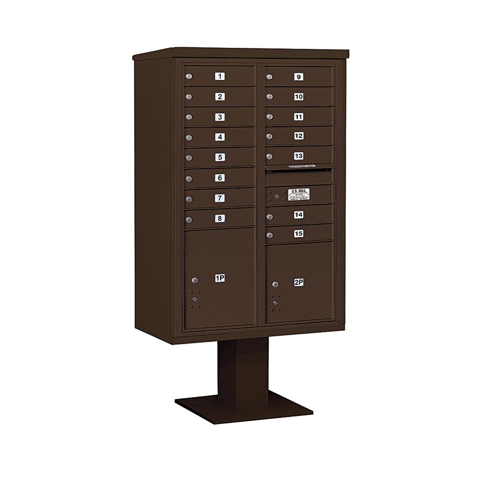 3400 Horizontal Series 15-Compartment 2-Parcel Locker Pedestal Mount Mailbox