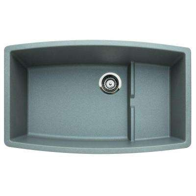 PERFORMA Undermount Granite Composite 32 in. 0-Hole Cascade Super Single Bowl Kitchen Sink in Metallic Gray
