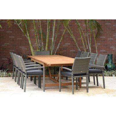 Jameson 11-Piece Wood/Wicker Rectangular Patio Dining Set with Grey Cushions