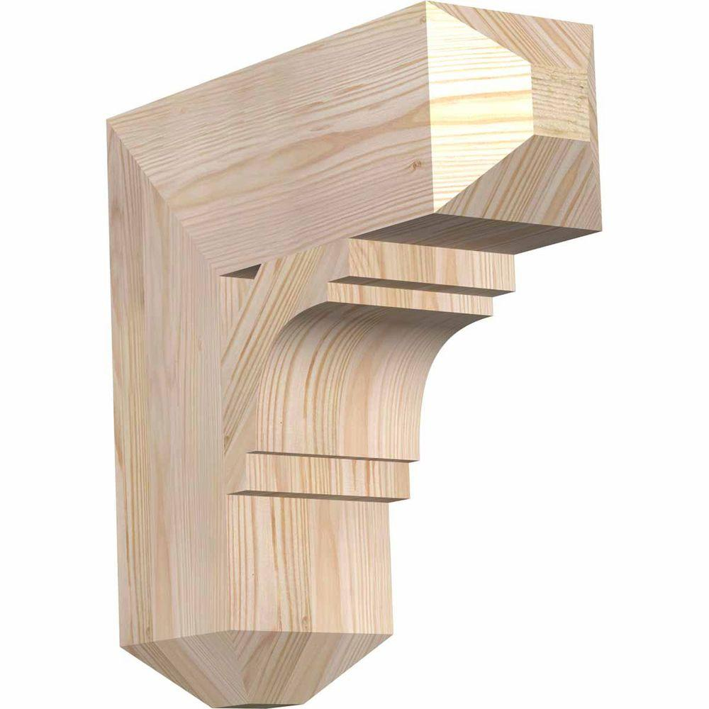 Ekena Millwork 5.5 in. x 18 in. x 18 in. Douglas Fir Merced Craftsman Smooth Bracket